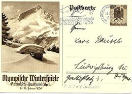 Olympiade De Berlin, Flamme De Garmisch Sur Entier Postal Illustre 1936 - Winter 1936: Garmisch-Partenkirchen