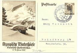Olympiade De Berlin, Cachet De Garmisch Sur Entier Postal Illustre 1936 - Winter 1936: Garmisch-Partenkirchen