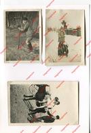 3 Photos Originales Amateur - Enfants En Trotinette - Traineau Et Sur Un âne Années 50 - Personas Anónimos