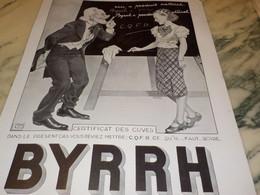 ANCIENNE PUBLICITE CERTIFICAT DES CUVES  BYRRH  1935 - Alcools