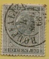 +MW-4448     HOUFFALIZE    Met Papierresten       Dubbel  Cirkel  OCB  17 - 1865-1866 Perfil Izquierdo