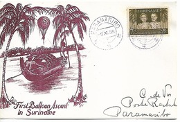 SURINAM 1955 PC FIRST BALOON ASCENT IN SURINAME 1 STAMP PC UNUSED - Surinam
