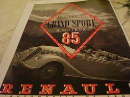 ANCIENNE PUBLICITE  LES NOUVELLES GRAND SPORT VOITURE   RENAULT  1935 - Voitures