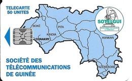 CARTE-PUCE-GUINEE-50U-SC5-CARTE De GUINEE-BLEUE-V°BanqueSGBG-Sans N°-UTILISE-TBE-RARE - Guinea