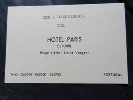 19975) PORTUGAL ESTORIL HOTEL PARIS PROPRIETARIO LOUIS VERGANI - Cartoncini Da Visita