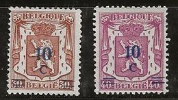 Belgique 1941-1942 N°Y.T. :  568 Et 469 Sans Gomme - Bélgica