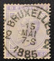 N. 41, 50 Cent Violet Obl. Bruxelles-2 15/5/1885 - 1883 Leopold II.