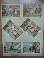 Lot 6 Chromos Liebig à Décoller Sur Feuille D'album + 5 Autres Chromos Chocolat Poulain , Biscuits Georges Au Verso - Liebig