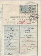 PERMIS DE CHASSE DEPARTEMENTAL- SEPTEMBRE  1948- VAR DRAGUIGNAN N°15301 - Documentos Antiguos