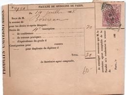 Timbre Impérial De Dimension 20 Cts Sur Reçu Faculté Médecine De Paris 1868 - Fiscal - Revenue Stamps