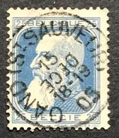 N. 76, Variété 25 Cent Bleu, Obl. Gand (St. Sauveur) 15/12/1905, Mois Inversé - 1905 Breiter Bart