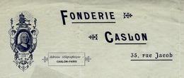 RARE 1899 PARIS FONDEUR De Caractères IMPRIMERIE CASLON FONDERIE LETTRE SIGNEE Pour Gourdet à Nevers V.SCANS - France