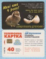 UKRAINE / Nikolaev Mykolayiv / Phonecard Ukrtelecom Phone Card Advertising Service Demensky 4 Years Chick Fauna 10/2001 - Oekraïne