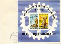 1980 , SOBRE DE PRIMER DIA , TOGO / REP. TOGOLAISE , 75 ANIVERSARIO DEL CLUB ROTARY INTERNATIONAL - Rotary, Club Leones
