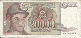 YOUGOSLAVIE 20000 DINARA 1987 VF P 95 - Yougoslavie