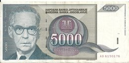 YOUGOSLAVIE 5000 DINARA 1992 VF P 115 - Yougoslavie