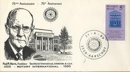 1980 , BÉLGICA , ROTARY INTERNATIONAL , SOBRE CONMEMORATIVO , AARSCHOT , PAUL P. HARRIS - Rotary, Club Leones