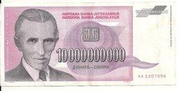 YOUGOSLAVIE 10 MILLIARD DINARA 1993 VF P 127 - Yougoslavie