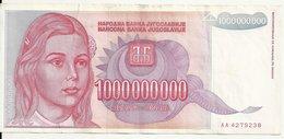 YOUGOSLAVIE 1 MILLIARD DINARA 1993 VF P 126 - Yougoslavie