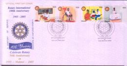 ROTARY - MALAWI  - 2005 ROTARY CENTENARY SET OF 4 ON ILLUSTRATED FDC - Rotary, Lions Club