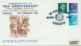 1980 , GRAN BRETAÑA , ROTARY INTERNATIONAL , SOBRE CONMEMORATIVO , 75 ANNIVERSARY CARDIFF - Rotary, Club Leones