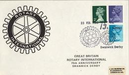 1980 , GRAN BRETAÑA , ROTARY INTERNATIONAL , SOBRE CONMEMORATIVO , 75 ANNIVERSARY SWANWICK DERBY - Rotary, Club Leones