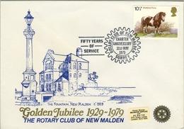 1979 , GRAN BRETAÑA , ROTARY INTERNATIONAL , SOBRE CONMEMORATIVO, SURREY - Rotary, Club Leones