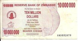 ZIMBABWE 10 MILLION DOLLARS 2008 VF P 55 - Zimbabwe