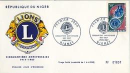 1967 , NIGER , LIONS INTERNATIONAL , SOBRE DE PRIMER DIA  , 5O ANIVERSARIO - Rotary, Club Leones