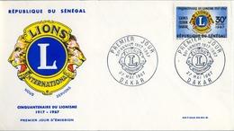 1967 , SENEGAL , LIONS INTERNATIONAL , SOBRE DE PRIMER DIA  , 5O ANIVERSARIO - Rotary, Club Leones