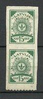 Lettland Latvia 1919 Michel 18 Y (vertic. Ribbed P) Senkrechtes Paar Incl. Unterere Marke Unten Perforiert 9 3/4 * - Lettonia