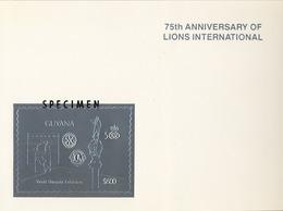 1992 GUYANA,  LIONS INTERNATIONAL / ROTARY - MI # 3815BA / SPECIMEN , MAGNÍFICA Y RARA PRUEBA - Rotary, Club Leones