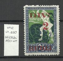 LATVIA Lettland 1920 Michel 62 Abart ERROR Variety Lighter Color OPT Überdruck Hell * - Lettonie