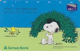 Carte Prépayée Japon - BD COMICS - Chien SNOOPY ** BANQUE SANWA BANK ** - DOG Japan Peanuts Prepaid Tosho Card - 2720 - BD