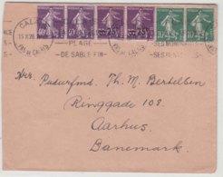 Lettre France 1928 Semeuse Calais Pour Aarhus Danemark - Storia Postale