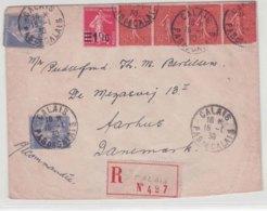 Lettre France 1930 Semeuse Calais Pour Aarhus Danemark - Storia Postale