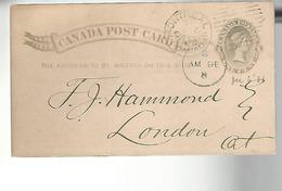 52866 ) Canada Postal Stationery Montreal 1883 Postmark Duplex - 1860-1899 Regering Van Victoria