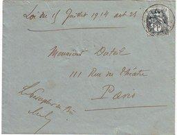 1c Blanc N° 107 Obl Sur Lettre Avec Mention LOI DU 15 JUILLET 1914 ARTICLE 25 ..... - 1877-1920: Période Semi Moderne