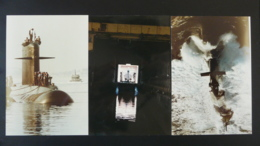 Lot De 3 Photos Originales De Sous-marin Submarine - Bateaux