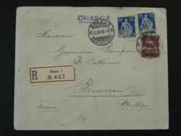 Lettre Recommandée Censurée Registered Censored Cover Suisse Pour Briançon Controle Postal Miltaire 1918 - Storia Postale