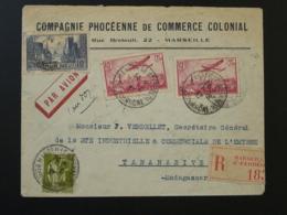 Lettre Par Avion Compagnie Phocéenne De Commercial Commercial Marseille Pour Madagascar Premier Vol 1933 - Poste Aérienne