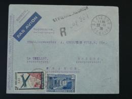 Lettre Recommandée Par Avion St-Pierre Réunion Pour Le Thillot Vosges 1938 - Réunion (1852-1975)