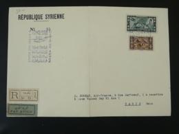 Lettre Recommandée Par Avion Air Mail Cover 10 Ans De Vols France Syrie Hydravion Seaplane 1938 - Syrie