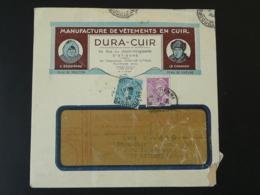 Lettre Affrt Semeuse + Mercure Manufacture De Cuir Leather Saint Etienne 1939 - Postmark Collection (Covers)