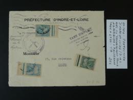 Devant De Lettre Taxée Taxe Gouvernement Provisoire Entête Préfecture Tours Indre Et Loire 1944 - Guerre De 1939-45