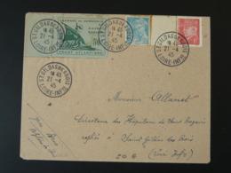 Lettre Poche De Saint-Nazaire Timbre Chambre De Commerce Oblit. St-Gildas Des Bois 44 Loire Atlantique 1945 - Guerre De 1939-45