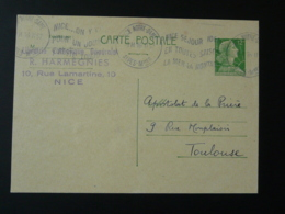 Entier Postal 12F Marianne De Muller Flamme Nice Noter Dame 1957 - Cartes Postales Types Et TSC (avant 1995)