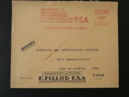 EMA Sur Lettre Slogan Meter On Cover St-Amour 39 Jura 1958 - Freistempel