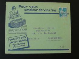 Timbre Préoblitéré Sur Lettre Publicitaire Vin Wine Caves Saint-Georges Port Vendres 66 Pyrénées Orientales 1959 - Vinos Y Alcoholes