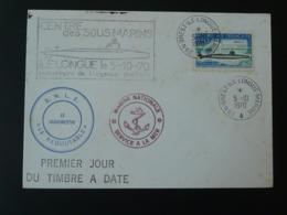 Lettre Cover Sous-marin Le Redoutable Submarine Marine Nationale Ouverture Agence Postale Brest Ile Longue 1970 - Duikboten